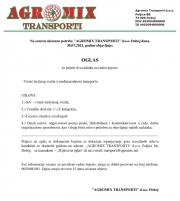 Agromix Transporti d.o.o. Doboj: Potreban KV vozač C i E kategorije